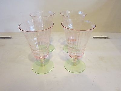 4 Cambridge Footed Tumblers #3075 Watermellon Pink Green