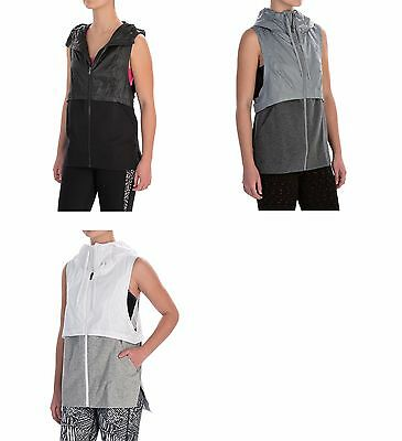 NWT $85 Under Armour Womens The Terry Running Vest top black White Steel hooded
