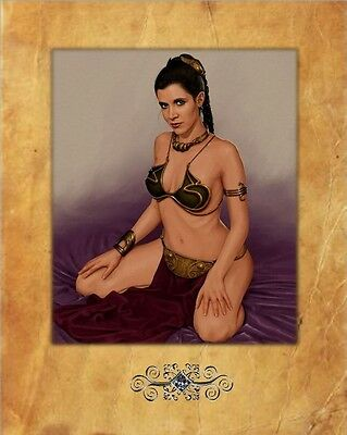Carrie Fisher, Star Wars, Princess Leia , 8X10 photo, Parchment Background