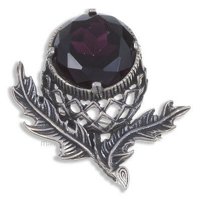 Scottish Thistle Brooch in antique Pewter & Amethyst Miracle Jewellery MBP110A