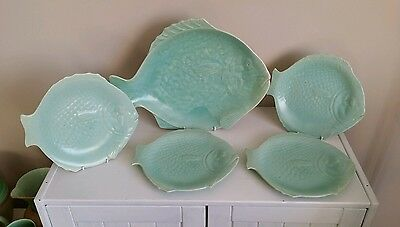 "Art Deco Shorter & Son 5 Piece ""Fish"" Serving Set"