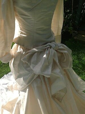 Ivory silk wedding dress Vintage Droopy and brown jacket skirt & train S12 VGC