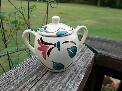 Purinton Pottery Red Ivy Blossom Sugar Bowl
