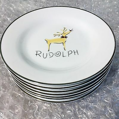 """Pottery Barn Reindeer 8 1/2"""" plates set  of all 9 includes RUDOLPH Christmas"""