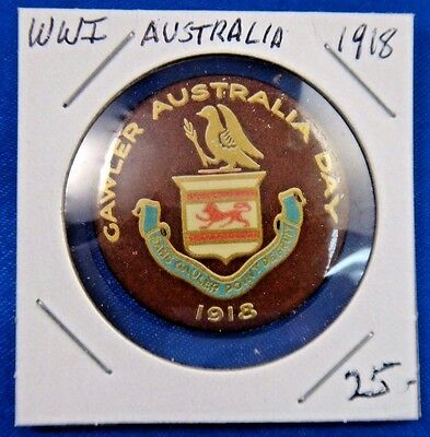 Original Vintage WWI WW1 Gawler Australia Day 1918 Pin Pinback Button