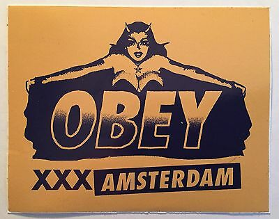 Obey Giant Screen Print Stickers Amsterdam Shepard Fairey Rare Poster Yellow MBW