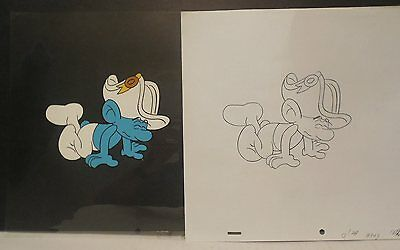 Smurfs Animation Production Cel - Great Looking Cel
