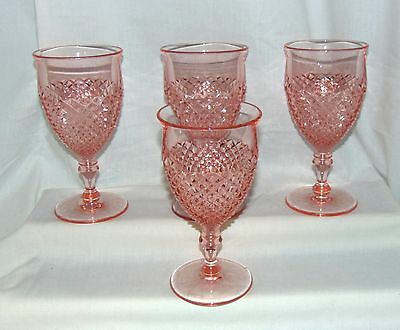 """4 Westmoreland ENGLISH HOBNAIL PINK *6"""" WATER GOBLETS*"""
