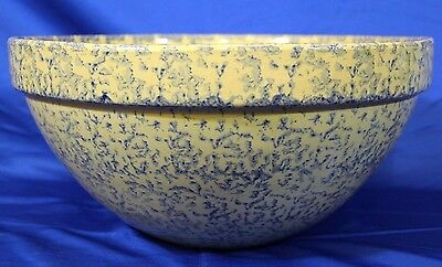 """Large Antique 1920s Blue Spongeware Bowl 15""""  Mixing Bowl by Robinson"""