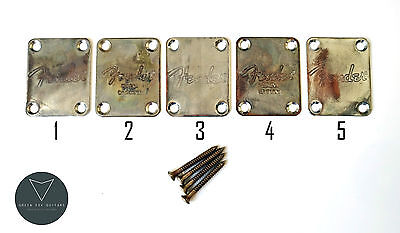 Aged Relic Electric Guitar Neck Plate, Strat or Tele, Fender Logo YOU CHOOSE!