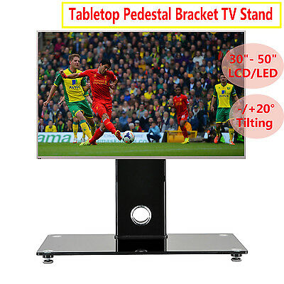 Glass TV Stand With Bracket Mount For 30-50 Inch Plasma LCD LED Black Tilting