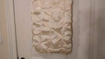 """Christmas Tree Skirt,  Ivory With Fake Pearls, 48"""" Diameter, Lined"""