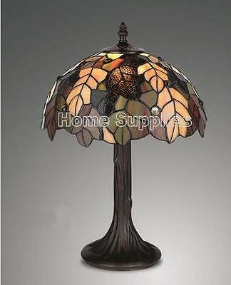 "Harvest Tiffany Style Stained Glass Table Lamp 12"" Wide ( Stunning Quality )"