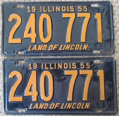 1955 Illinois License Plate Pair 240 771 Good Condition