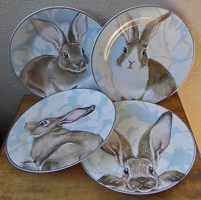 """Set of 4 - Rabbit Salad Plates by Williams Sonoma - Damask Easter Bunny - 8"""""""