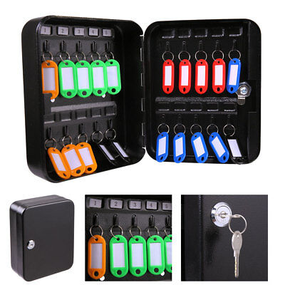 20 Metal Safe Hook Key Box w/Tag Home Car Lock Storage Case Cabinet Wall Mount