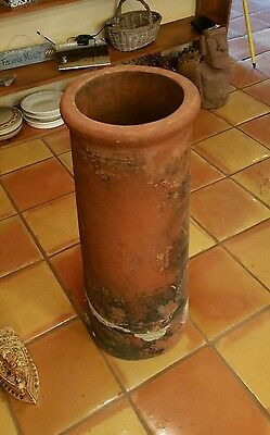 "Tall Antique Terracotta Fired Red Clay Chimney Top Pot 30"" Tall"