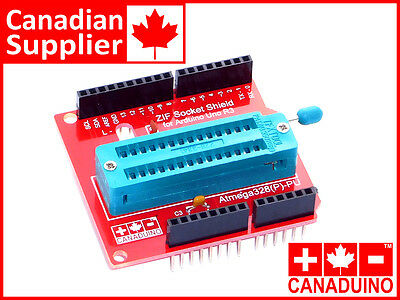 Arduino Uno ZIF Socket Programmer Shield - world exclusive - ships from CANADA