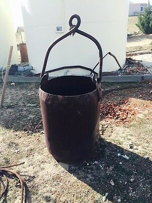 Miners Mining Ore Bucket Early Large Blacksmith Made Riveted With Cable