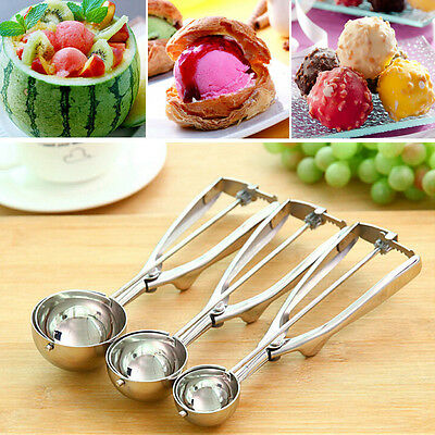 3 Size Stainless Steel Ice Cream Mashed Potato Cookie Scoop Spoon Spring Handle