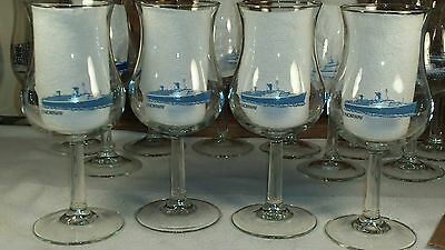 NORWEGIAN CRUISE LINES Vintage SS NORWAY Tulip Wine Glass - Matching Set of 4