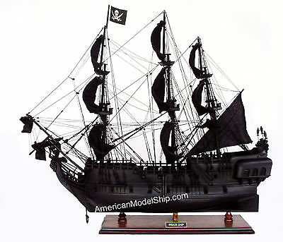 """Black Pearl Caribbean Pirate Ship Model 37"""" - Handcrafted Wooden Model"""