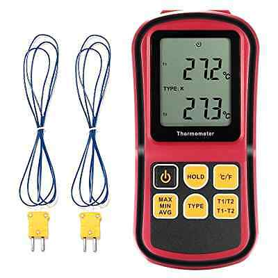 Digital Thermometer LCD Dual Channel with Two K Type Thermocouples for Industry