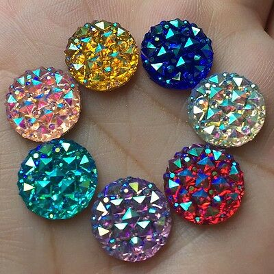 DIY 30pcs 12mm Round AB Resin flatback Scrapbooking for phone/wedding Crafts