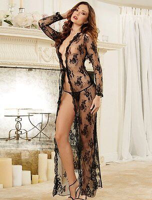Sexy Lingerie Black Lace Gown Plus Sizes 16-22 Erotic Nightwear With Thong