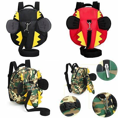 Baby Kids Backpack with Walking Safety Harness Tether Strap Cute Dinosaur Style