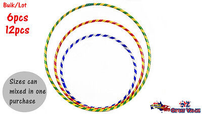 Colorful Hula Hoops 3Sizes Exercise Sports Gymnastic Fitness Workout Bulk Lot OZ