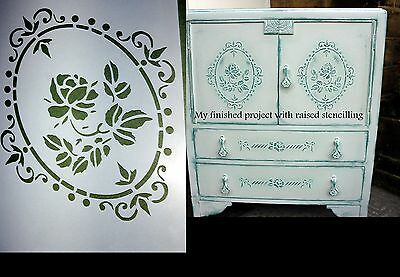 VICTORIAN ROSE stencil A5 A4 A3  -  furniture door fabric vintage shabby chic