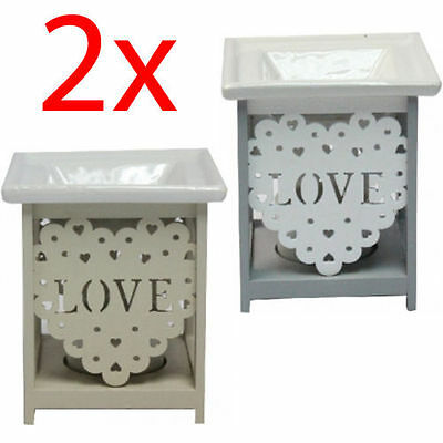 2 X Love Oil Burner Warmer Fragrance Gift Set Granules Melt Wax Home Aroma New