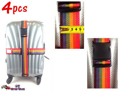 4x 1.6 Meters Travel Luggage Suitcase Strap Rainbow Baggage Backpack Belt Bulk