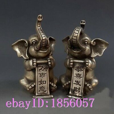 Chinese Silver Folk FengShui Auspicious Wealth Elephant Animal  Sculpture Pair