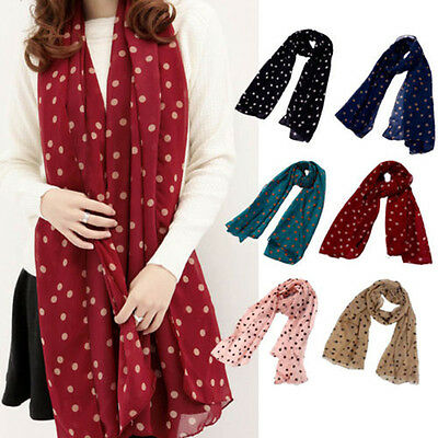 Long Soft Women Chiffon Scarf Wrap Shawl Stole Scarves Polka Dot Print