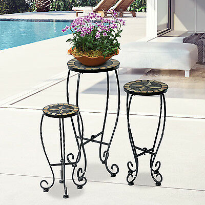 Outsunny 3 Set Mosaic Plant Stand Flower Side Table Decor Patio Garden Outdoor