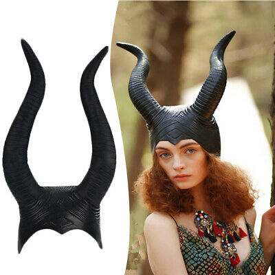 Adult Genuine Latex Maleficent Horns Halloween Party Witch Cosplay Costume Hat