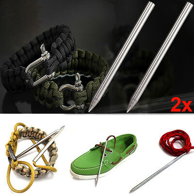 2X Stainless Steel Lacing Tool Paracord Thread Shaft Tip Stiching Weave Needle