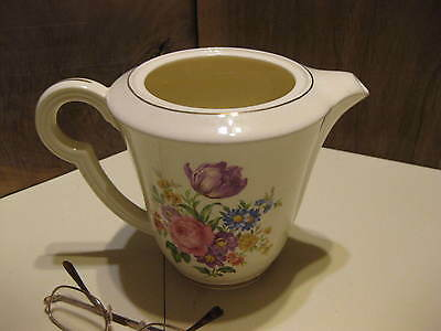 Edwin M. Knowles China Floral Tea #38-10 Pot No Lid Made In The USA 22 Karat Gol