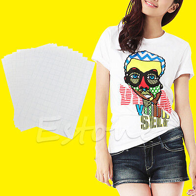 10 Sheets A4 Iron On Inkjet Print Heat Transfer Paper for DIY Craft T-shirt