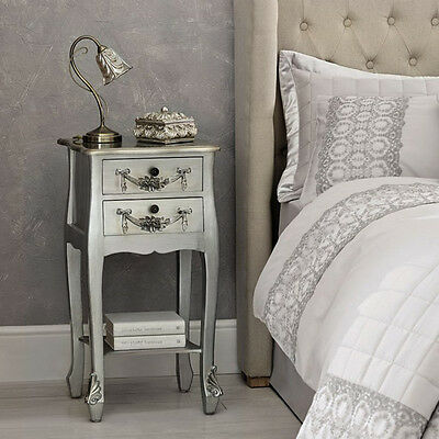 NEW Rococo French Style Bedside Telephone Table Silver Cabinet Night Stand Louis