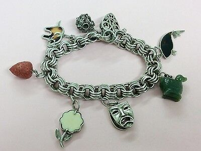 Vintage Sterling Silver Charm Bracelet With 7 Charms 1980