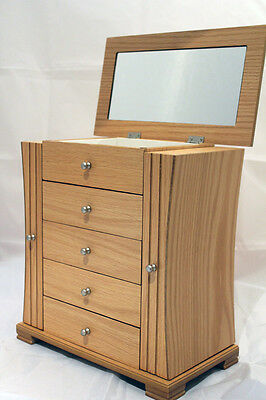 Ex Large Ladies Light Oak Wooden Jewellery Box Armoire Chest Of Drawers