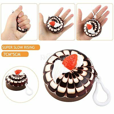 Squeeze Squishy Chocolate Cake Elasticity Bread Toy Phone Strap Chain Gift