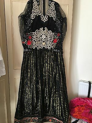 Ladies Black Gold Heavy Indian Long Dress Party Wear Bollywood Reduced