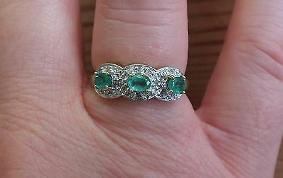 Emerald and Diamond Cluster 9 ct 375 Gold Ring