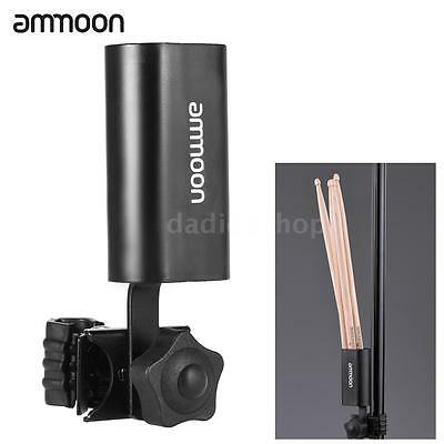 ammoon Multi-functional Clip-on Drum Stick Holder Case Container Black Q0F2