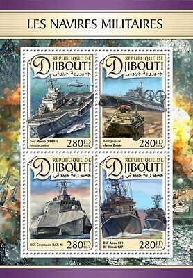 Z08 IMPERFORATED DJB16603a DJIBOUTI 2016 Military ships Helicopters MNH ** Postf