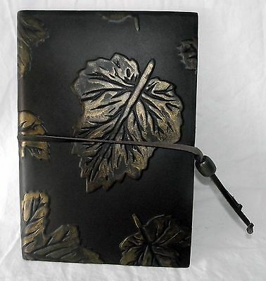 Italian Leather Journal Leaves Leaf Diary Clasp Cord Bronze Tie New Sealed LOOK!